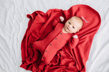 Organic Thermal Swaddling Blanket in Cherry, Lifestyle