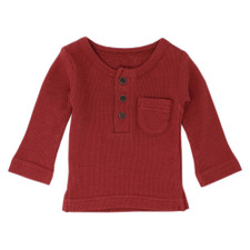 Organic Thermal L/Sleeve Shirt in Brick, Flat