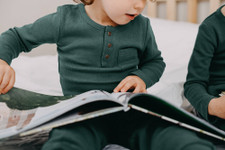 Organic Kid's Thermal L/Sleeve Shirt in Pine, Lifestyle