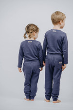 Organic Thermal Kids' Jogger Pants in Dusk, Lifestyle