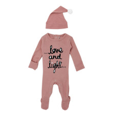 Organic Overall & Cap Set in Mauve Love and Light, Flat