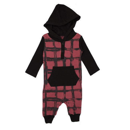 Organic Hooded Long-Sleeve Romper in Appleberry Plaid, Flat