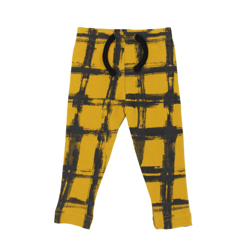 Organic Kids' Drawstring Leggings in Citrine Plaid, Flat