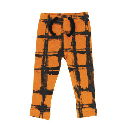 Organic Kids' Drawstring Leggings in Butternut Plaid, Flat