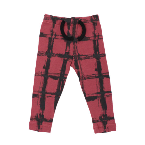 Organic Kids' Drawstring Leggings in Appleberry Plaid, Flat