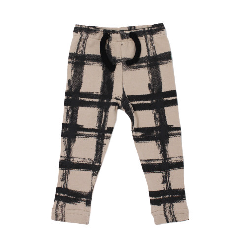 Organic Drawstring Leggings in Oatmeal Plaid, Flat