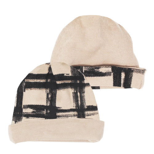 Reversible Beanie in Oatmeal Plaid, Flat