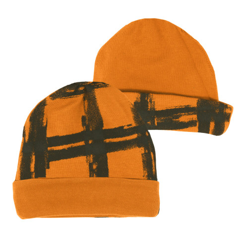 Reversible Beanie in Butternut Plaid, Flat