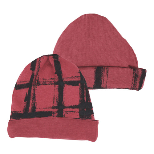 Reversible Beanie in Appleberry Plaid, Flat