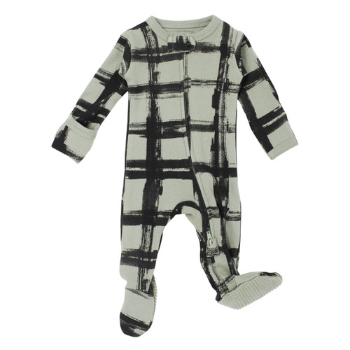 Organic Zipper Baby Footie, Print in Seafoam Plaid, Flat