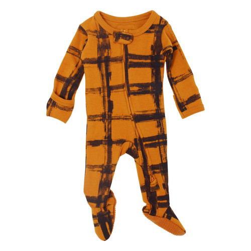 Organic Zipper Baby Footie, Print in Butternut Plaid, Flat