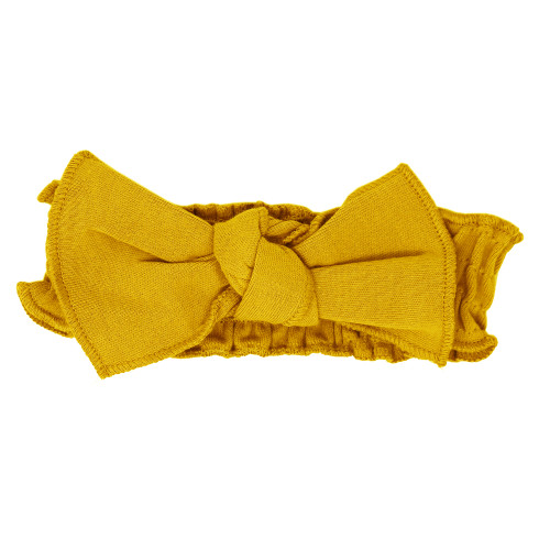 Organic Smocked Tie Headband in Citrine, Flat