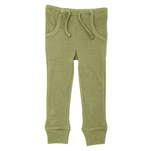 Organic Thermal Kids' Jogger Pants in Sage, Flat