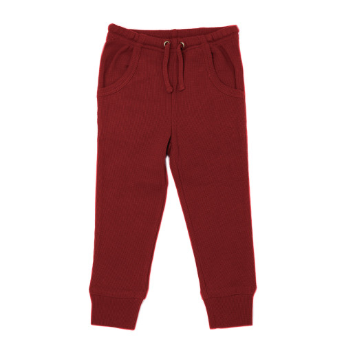 Organic Thermal Kids' Jogger Pants in Crimson, Flat