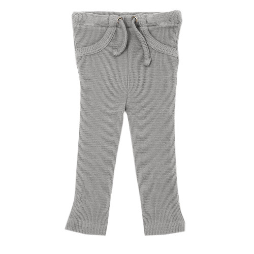 Organic Thermal Drawstring Fitted Pants in Mist