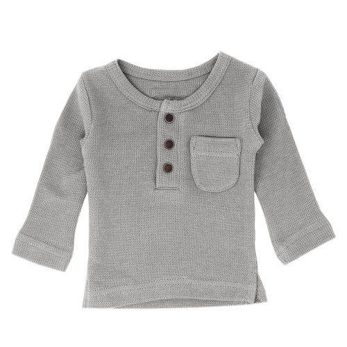Organic Thermal Kids' L/Sleeve Shirt in Mist