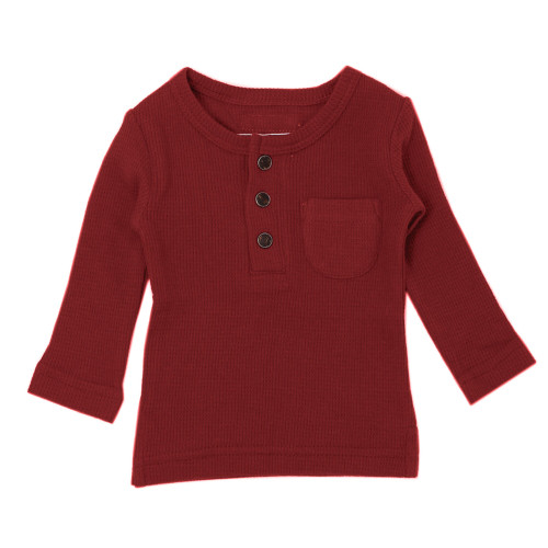 Organic Thermal L/Sleeve Shirt in Crimson, Flat