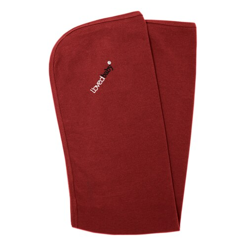 Organic Thermal Swaddling Blanket in Crimson, Flat