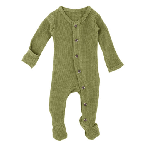 Organic Thermal Baby Footie in Sage, Flat