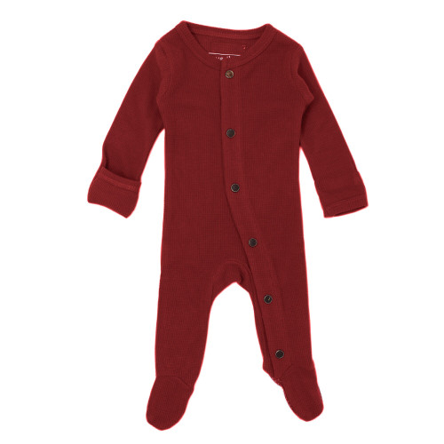 Organic Thermal Baby Footie in Crimson, Flat