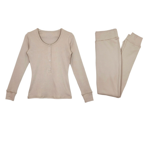Women's Organic Lounge Set in Oatmeal, Flat