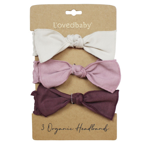 Organic 3-Piece Headband Gift Set in Purples, Flat
