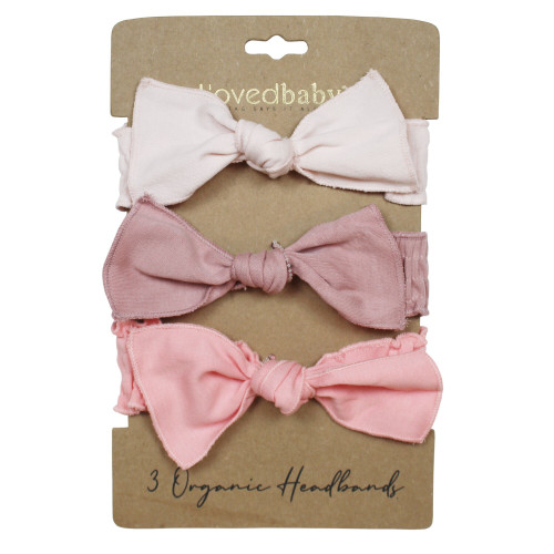 Organic 3-Piece Headband Gift Set in Pinks, Flat