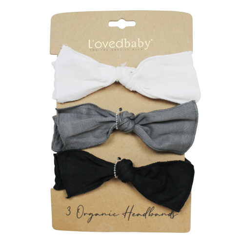 Organic 3-Piece Headband Gift Set in Black & White, Flat
