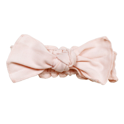 Organic Smocked Tie Headband in Blush, Flat