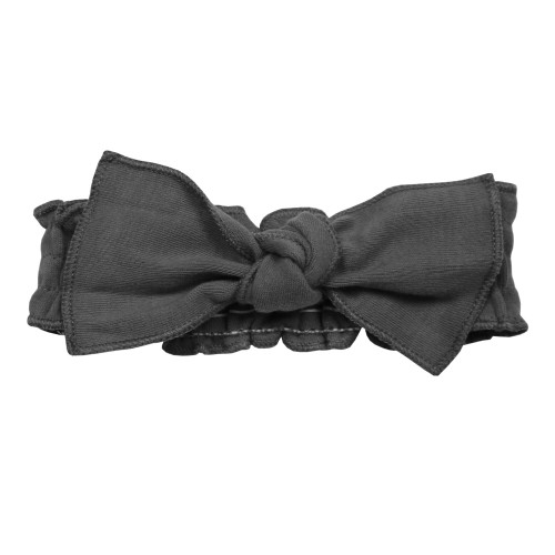 Organic Smocked Tie Headband in Gray, Flat