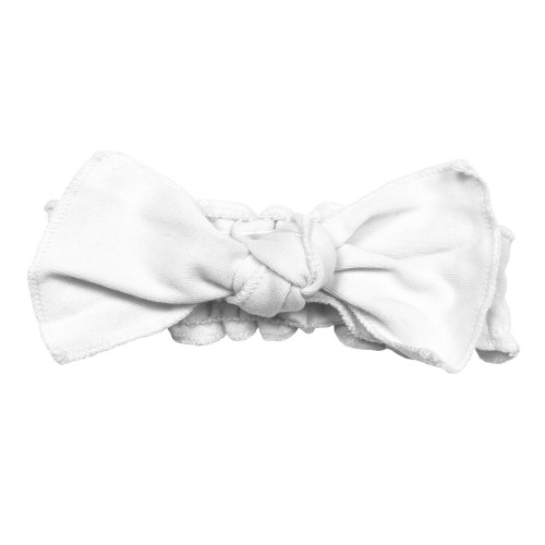 Organic Smocked Tie Headband in White, Flat