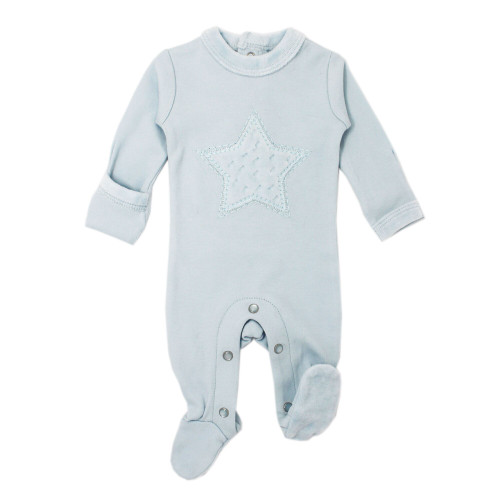Velveteen Graphic Baby Footie in Moonbeam, Flat