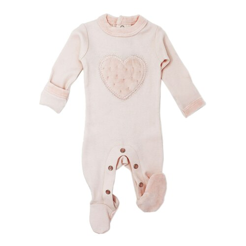 Velveteen Graphic Baby Footie in Blush, Flat