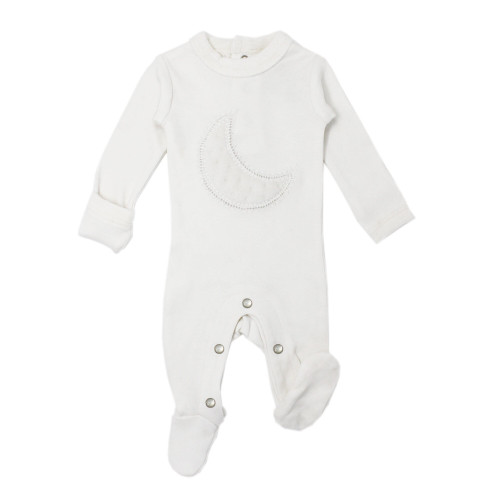 Velveteen Graphic Baby Footie in White, Flat