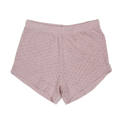 Kid's Pointelle Tap Shorts in Thistle, Flat