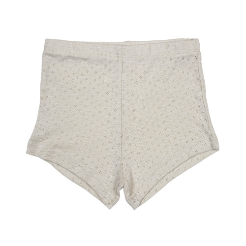 Pointelle Tap Shorts in Stone, Flat