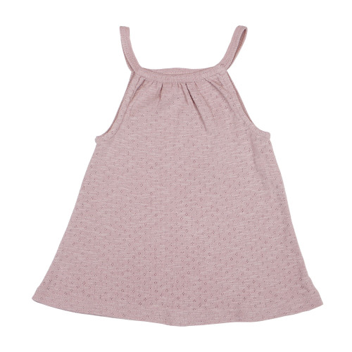 Kid's Pointelle Halter Tank in Thistle, Flat