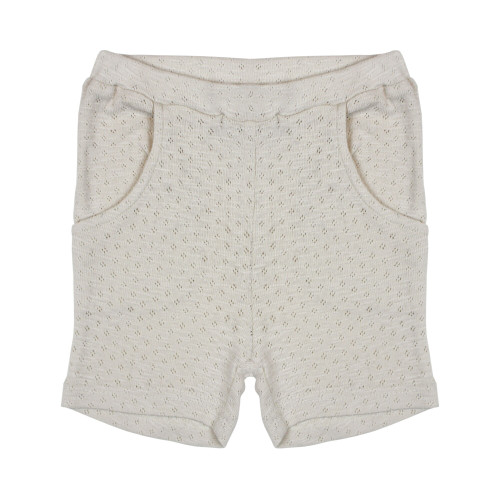 Organic Kids Pointelle Shorts in Stone, Flat