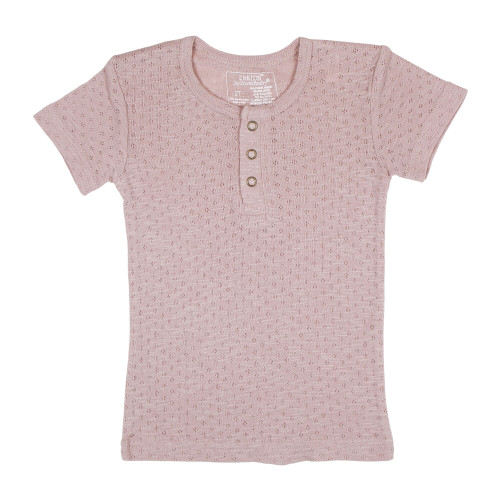 Kid's Pointelle S/Sleeve Henley Tee in Thistle, Flat