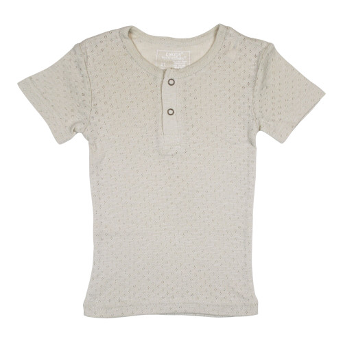Kid's Pointelle S/Sleeve Henley Tee in Stone, Flat
