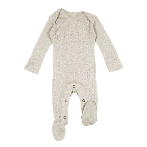 Pointelle Lap-Shoulder Baby Footie in Stone, Flat