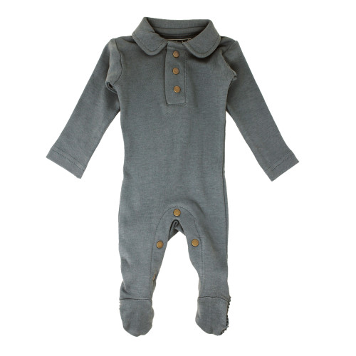 Organic Polo Baby Footie in Moonstone