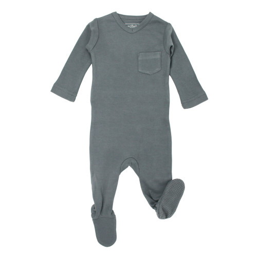 V-Neck Baby Footie in Moonstone, Flat