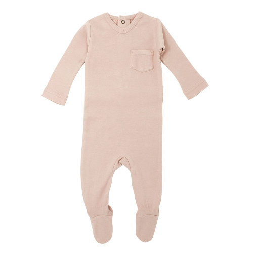 V-Neck Baby Footie in Rosewater, Flat