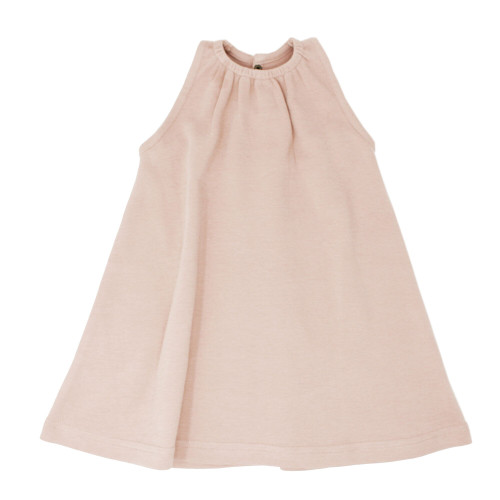 Kids' Sleeveless Keyhole Dress in Rosewater, Flat