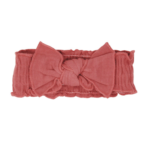 Organic Smocked Tie Headband in Sienna, Flat