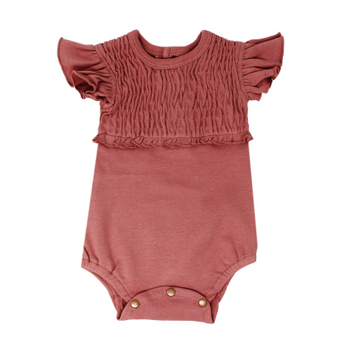 Smocked S/Sleeve Bodysuit in Sienna, Flat