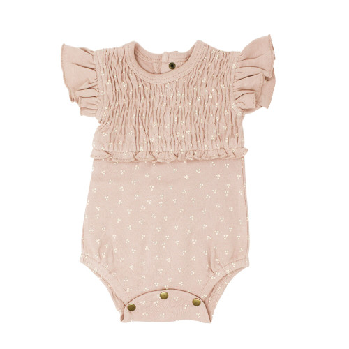 Smocked S/Sleeve Bodysuit in Rosewater Dots, Flat