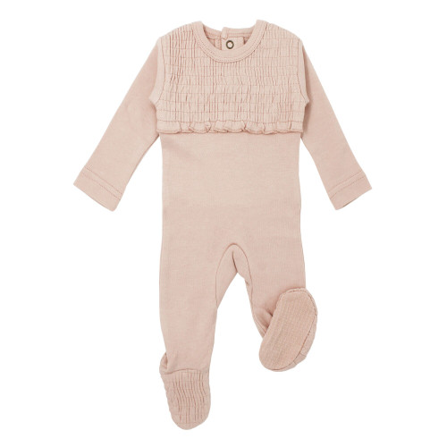 Organic Smocked Baby Footie in Rosewater, Flat