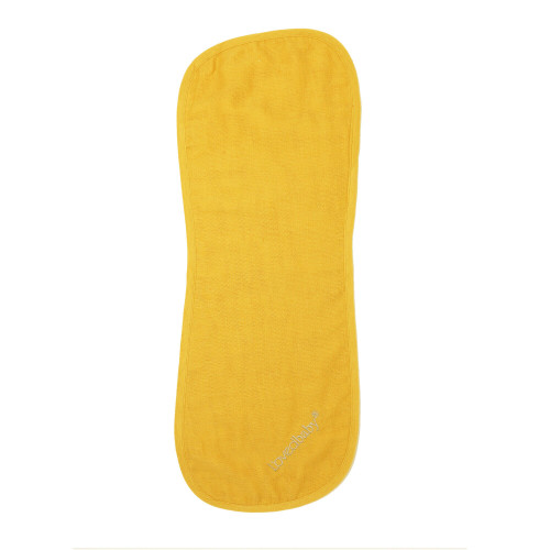 Organic Reversible Muslin Burp Cloth in Saffron, Flat